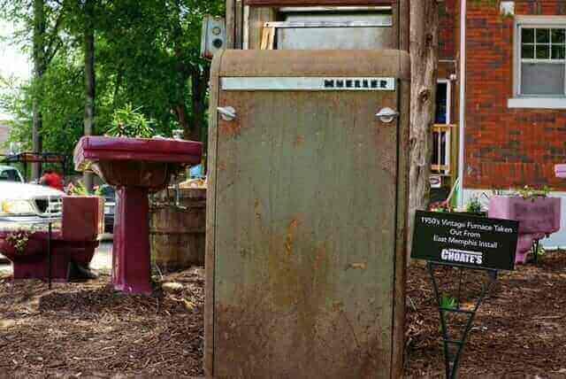 Vintage Furnace Outside Showroom